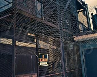 Fenced Alley in Royal Oak MI Fine Art Photograph on Metallic Paper