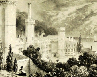 1847 Your Personal Downton Abbey Series. English Antique Wood Engraving of Naworth, Cumberland