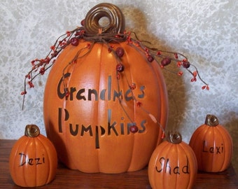 Grandma's Pumpkins Ceramic Jack o Lantern Pumpkin Set Personalized