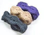 Boho Chic Headband, Crochet Headband, Cotton Headband, Charcoal Gray Head Band, Set of 3 Headbands