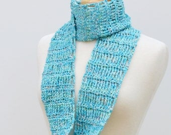 Aqua Infinity Scarf, Summer Cotton Crochet Eternity Scarf