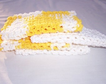 Cotton Crochet Dishrags, Yellow and White Dishcloths, 4 Dishcloths,  Small Dishcloths, Lemon Yellow Dishrags