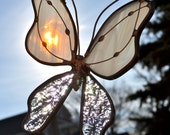 Winter White Stained Glass Butterfly