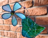 Blue Violet Stained Glass  Suncatcher