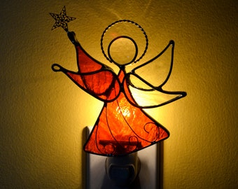 Flame Red Star Angel Stained Glass Night Light