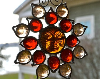 Amber Red Sunface Flower Stained Glass Suncatcher