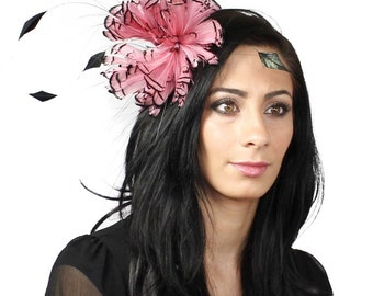 Partridge Black and Pink Fascinator Kentucky Derby or Wedding Hat on a Headband