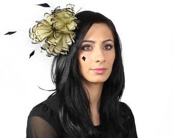 Mink and Black Partridge Fascinator Kentucky Derby or Wedding Hat on a Headband