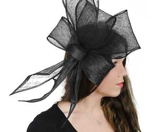 Bucksfizz Black Fascinator Hat for Weddings, Races, and Special Events With Headband