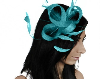 Four Loops Dark Turquoise Fascinator Hat for Weddings, Races, and Special Events With Headband