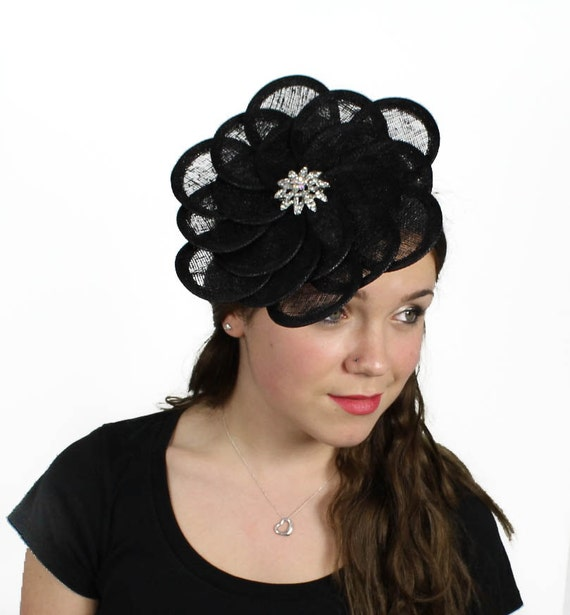 Black Flower Fascinator Hat: Black Ascot Flower Fascinator Hat For Weddings By