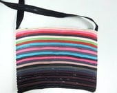 Zipper Handbag, Purse of striped colors, upcycled zippers