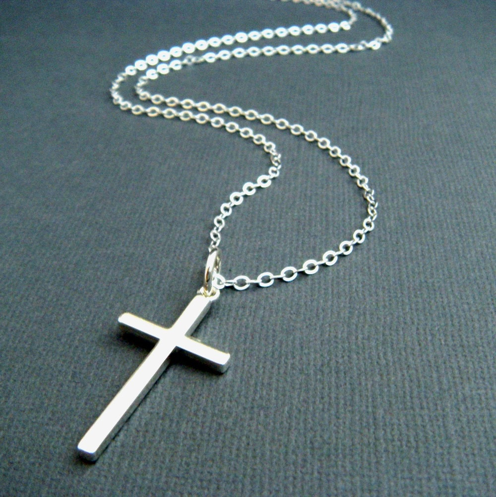 long silver cross necklace large sterling by limegreenmodern. Black Bedroom Furniture Sets. Home Design Ideas
