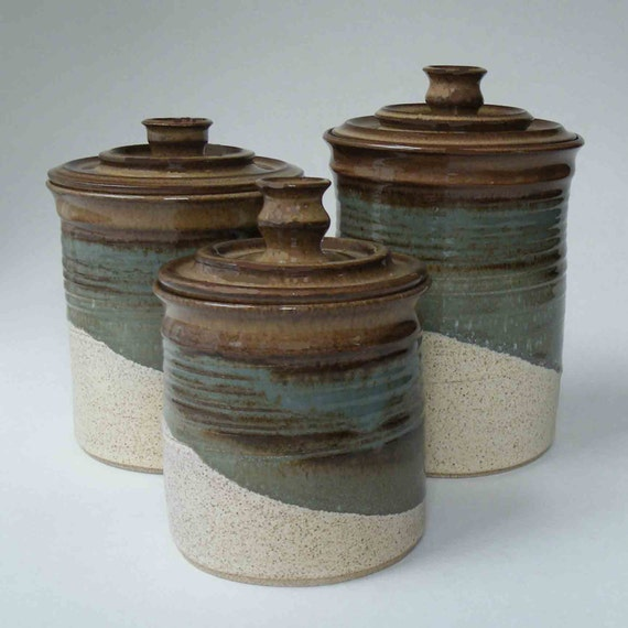 kitchen set of 3 canisters brown blue gray oatmeal ceramic