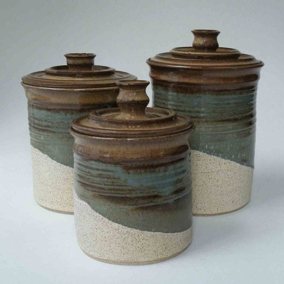 kitchen set of 3 canisters brown blue gray oatmeal ceramic elegant country store canister set of 4 ceramic lids w