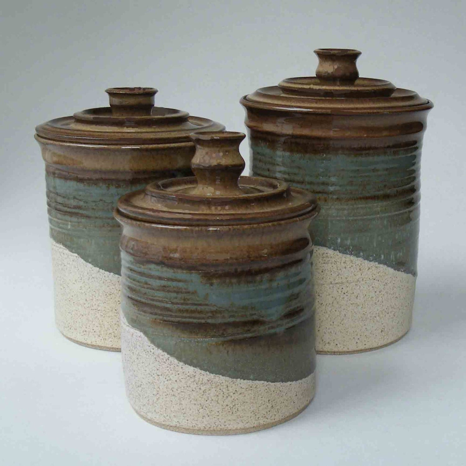 ceramic canisters sets for the kitchen kitchen set of 3 canisters brown blue gray oatmeal ceramic 6741