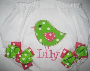 Boutique monogrammed sweet bird bloomer with bows