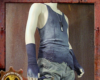 Made to Order a Mens One of a Kind Battered and Blue Dirty and Distressed Wasteland Tank Top