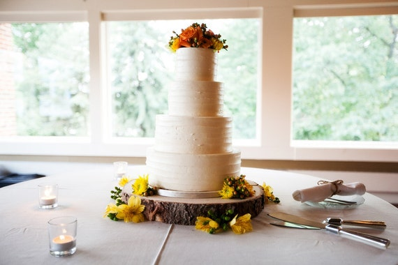 "12"" Rustic Wood Tree Slice Wedding Cake Base or Cupcake Stand for your Event and Party or even a Newborn Photo Prop"