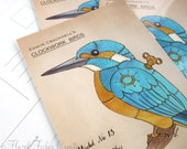 Kingfisher Postcard - Clockwork Bird steampunk illustration print