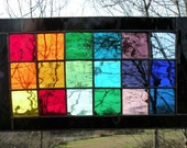 Stained Glass Rainbow window panel rectangle