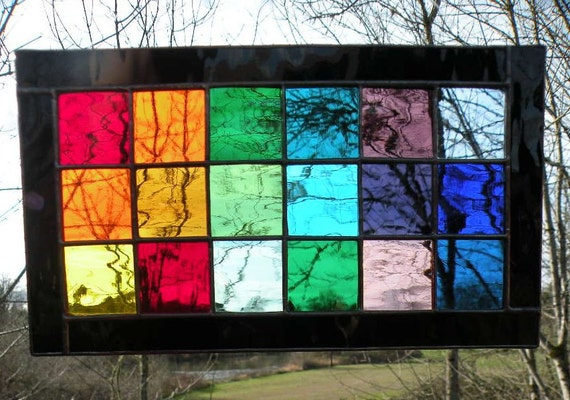 Stained Glass Rainbow Window Panel Rectangle By Ravenglassgirl