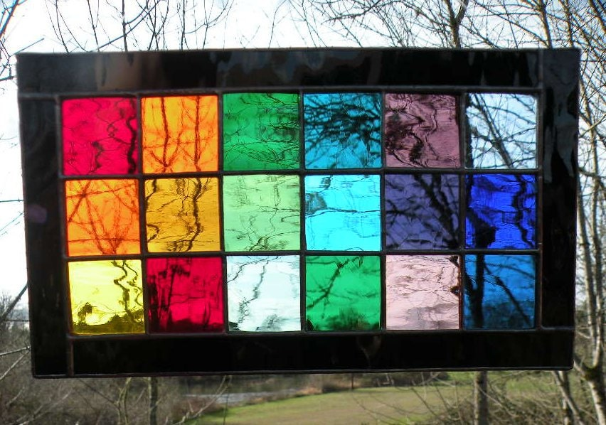 Stained Glass Rainbow Window Panel Rectangle By Ravenglassgirl