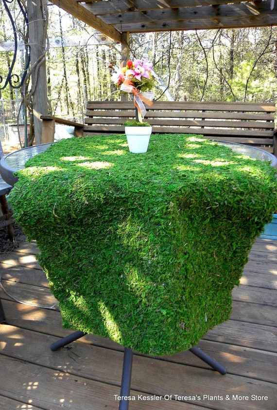 Moss table runner-Moss mats-Preserved Moss sheets-Decorative Moss Sheets-Table Runners-Green Moss - Moss Mat