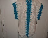 Ladies Crocheted White and Turquoise  Vest