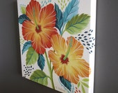 Tropical Hibiscus Gallery Wrapped Canvas Print Multiple Size Options