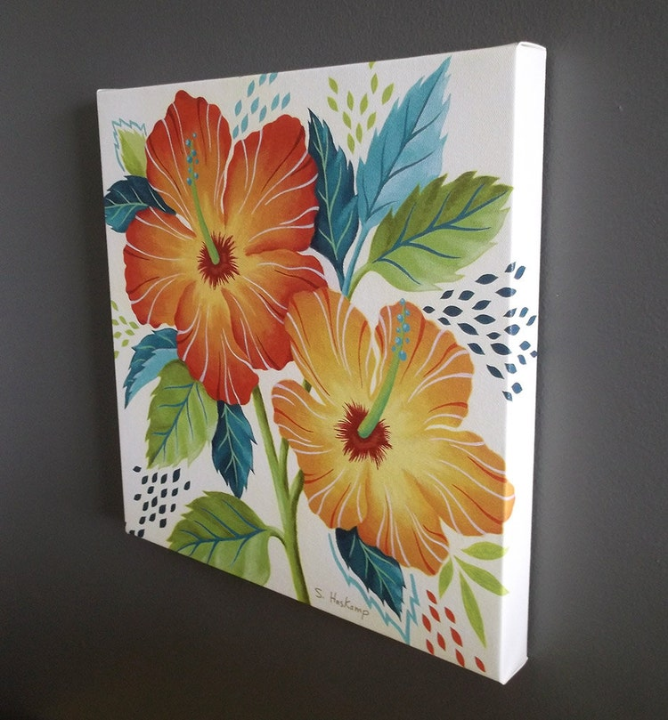 Tropical Hibiscus Gallery Wrapped Canvas Print By