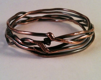 Handmade Copper Bangle - Copper Bracelet - Five Tangled Branches - Handmade Copper Bracelet