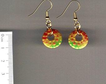 Handpainted wooden earrings -polka dots