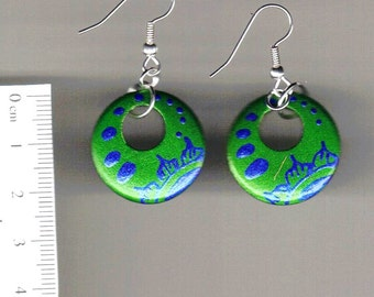 Handpainted wooden earrings -Floral-green and blue