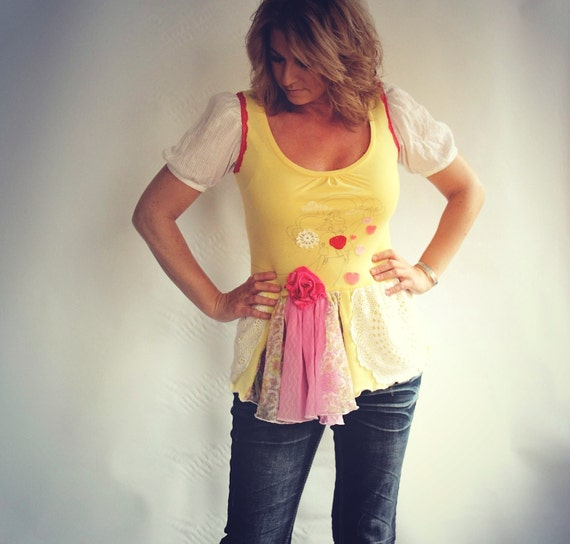 Yellow Tunic Top Pink Shirt Hippie Clothes Boho Clothing White Vintage Lace Eco Friendly Recycled T-Shirt Valentine's Hearts Medium 'NADIA'