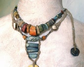 Reserved for susan Artisan Necklace hemp ceramic porcelain hemp handmade