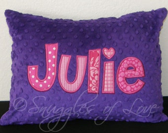 Girls Hot Pink and Purple Pillow - Name Pillow - PERSONALIZED THROW PILLOW - Monogrammed Minky Pillow - Made with Your Name and Colors
