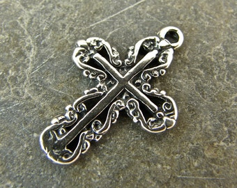 Filigree Cross - Sterling Silver Cross Charm or Petite Pendant - cfcpp