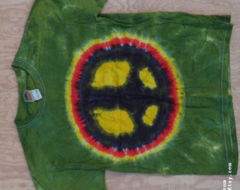 Peace Sign Tie Dye T-Shirt (Fruit of the Loom Size Youth L 14-16) (One of a Kind)