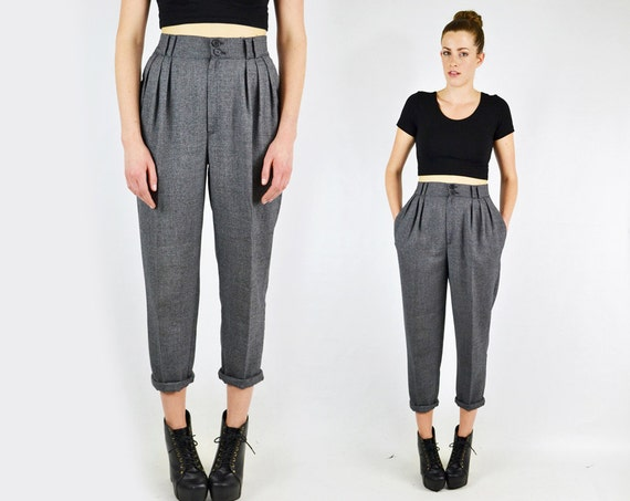 vintage 80s gray tweed HIGH WAIST SKINNY pants / high waisted
