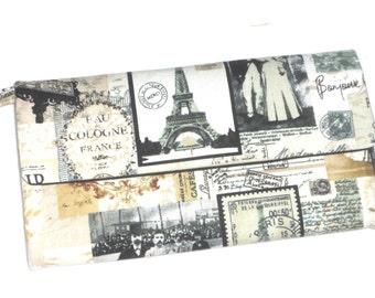 Vintage Paris Postcard Scenes Wallet / Wristlet / Clutch / Cell Phone / Bridesmaid Gifts