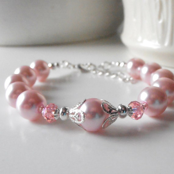 Beaded pink bridesmaid jewelry sets pink pearl by for Pink wedding jewelry sets