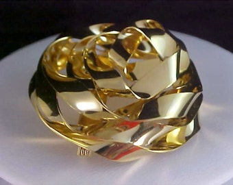 Reduced ~ Gold  PLATE Geometric RIBBON ENTWINED Brooch Pin - Dimensional