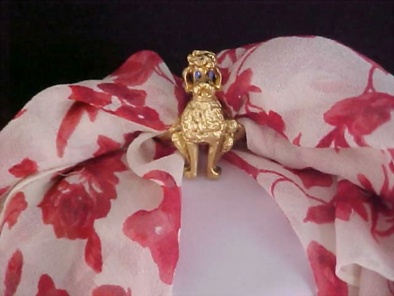 Free Ship ~ Gold Nugget Plated PRECIOUS POODLE Scarf or Ribbon Holder Necklace
