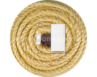 Nautical Sisal Rope Toggle and Decora Rocker Switch Plate Cover