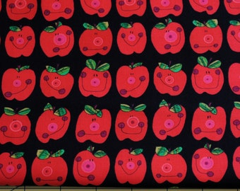 Fat Quarter Cute Whimsical Back to School Goofy Apple Faces Fabric