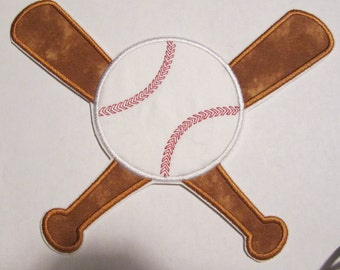 Iron On Applique - Baseball & Bat