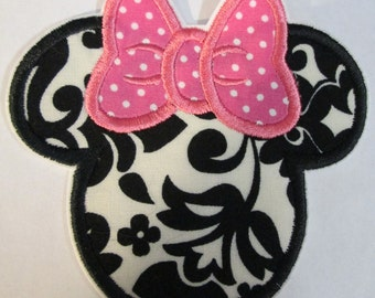 Iron On Applique -   Mouse Head  READY TO SHIP in 3-7 Business Days