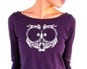 Womens Long Sleeve TShirt - Owl - American Apparel - 3/4 Sleeves - Boat Neck - small, medium, large, xl