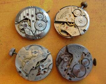 Featured - Steampunk supplies - Watch movements - Vintage Antique Watch movements Steampunk - Scrapbooking j33